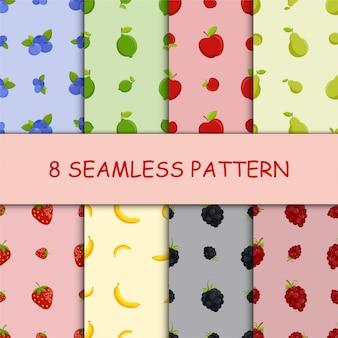 Conjunto de patrones sin fisuras con fruta
