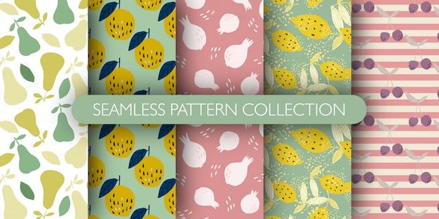 Conjunto de patrones sin fisuras de frutas. colección de patrones: limón con hojas, granada, cereza, pera, manzana.