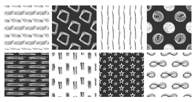 Conjunto de patrones sin fisuras de garabatos de mano