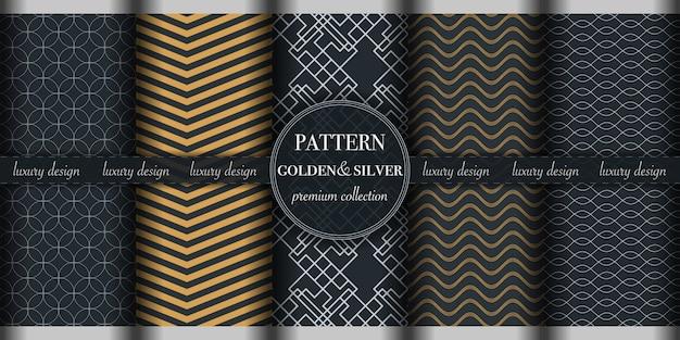 Conjunto de patrones sin fisuras geométricas abstractas doradas y plateadas