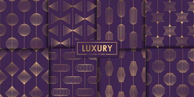 Conjunto de patrones sin fisuras geométrico púrpura de lujo