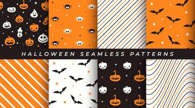 Conjunto de patrones sin fisuras de halloween con calabaza, murciélago, araña, patrones geométricos