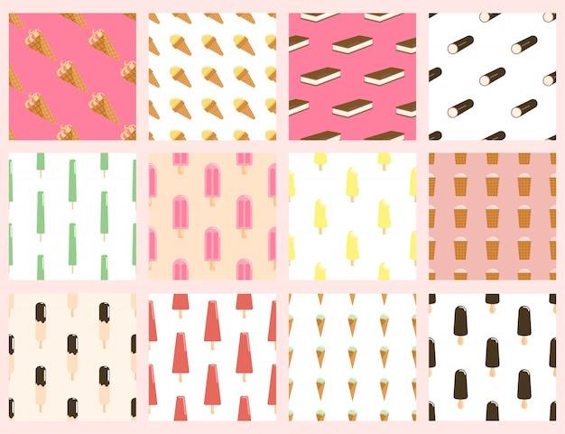 Conjunto de patrones sin fisuras de helado. colecciones de paletas heladas, yogurt helado, helado en glaseado de chocolate sobre un palo de madera, esquimal y papel tapiz de sabores de frutas.