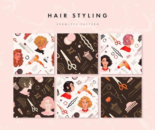 Conjunto de patrones sin fisuras con herramientas de peluquería y retratos de mujeres de belleza