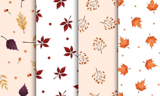 Conjunto de patrones sin fisuras con hojas de otoño de color amarillo anaranjado sobre fondos suaves de color beige y blanco. papel de regalo, plantilla textil.