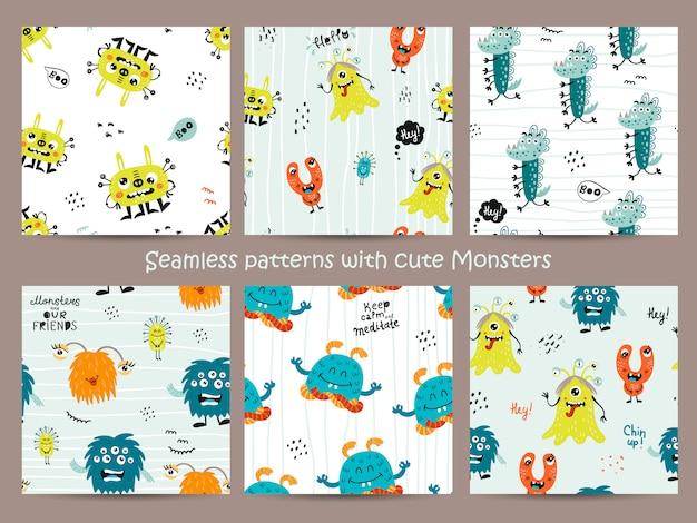 Conjunto de patrones sin fisuras infantil con monstruos divertidos.