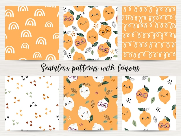 Conjunto de patrones sin fisuras con limones.