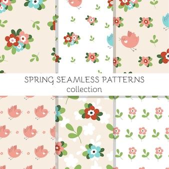 Conjunto de patrones sin fisuras con lindas flores de primavera, pájaros y hojas.