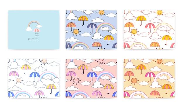 Conjunto de patrones sin fisuras con lindo arco iris y paraguas. ilustracion vectorial