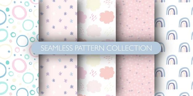 Conjunto de patrones sin fisuras lindo para bebé. arco iris, círculo, nube, colección de patrones de estrellas.