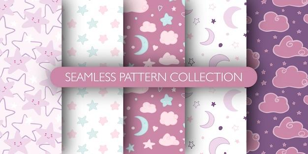 Conjunto de patrones sin fisuras lindo para bebé. estrellas, nubes, colección de patrones de luna.