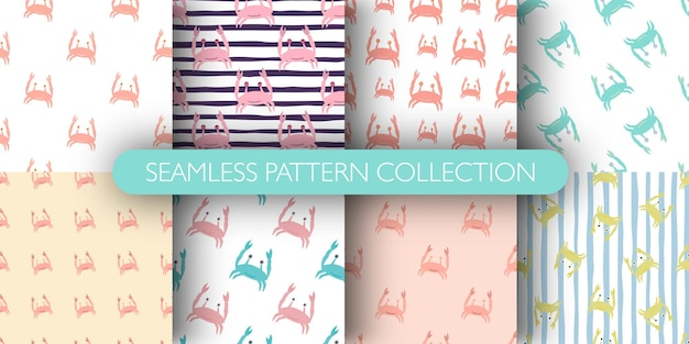 Conjunto de patrones sin fisuras con lindo personaje de cangrejos doodle
