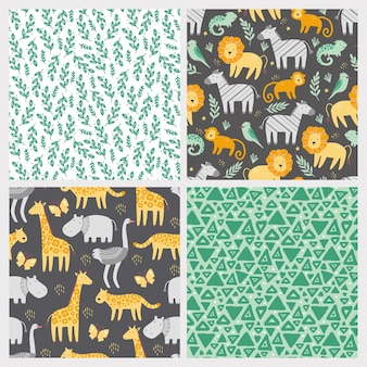 Conjunto de patrones sin fisuras con lindos animales de zoológico africano.