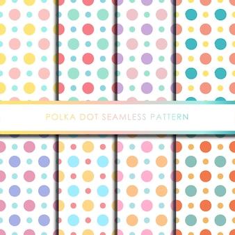 Conjunto de patrones sin fisuras de lunares de colores