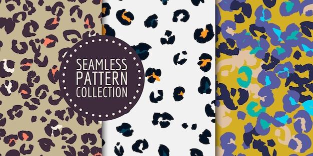 Conjunto de patrones sin fisuras de manchas de leopardo dibujado a mano