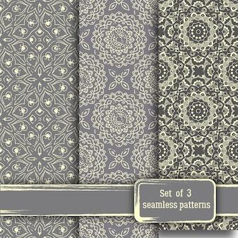 Conjunto de patrones sin fisuras mandala floral