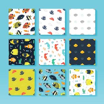 Conjunto de patrones sin fisuras del mar con peces, caballitos de mar, estrellas de mar, algas y burbujas. submarino. ilustración de colección marina