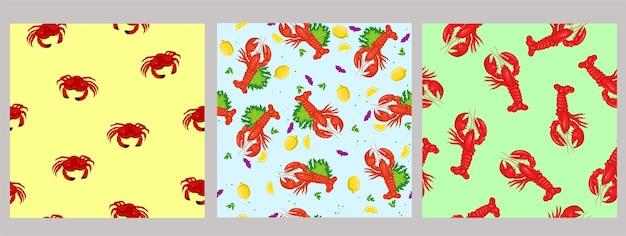 Conjunto de patrones sin fisuras con mariscos.