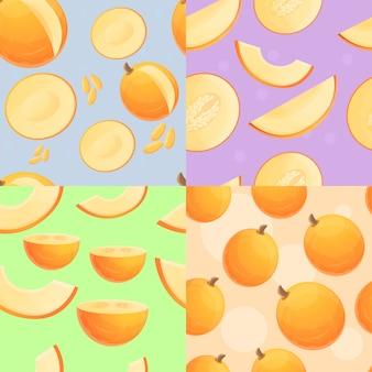Conjunto de patrones sin fisuras de melón fresco, estilo de dibujos animados