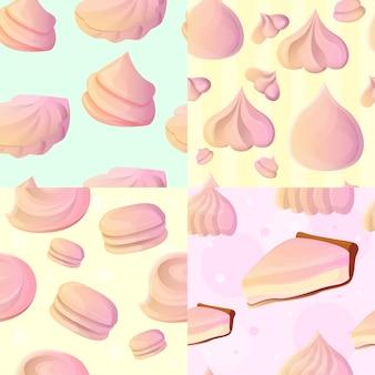 Conjunto de patrones sin fisuras de merengue, estilo de dibujos animados