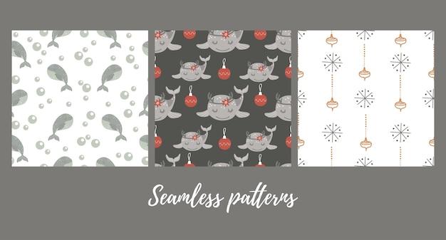 Conjunto de patrones sin fisuras de navidad con ballena bebé