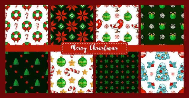 Conjunto de patrones sin fisuras de navidad - camachuelo, árbol, bastón de caramelo, acebo