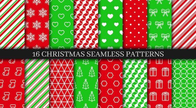 Conjunto de patrones sin fisuras de navidad. colección de textura de año nuevo. papel de regalo navideño.