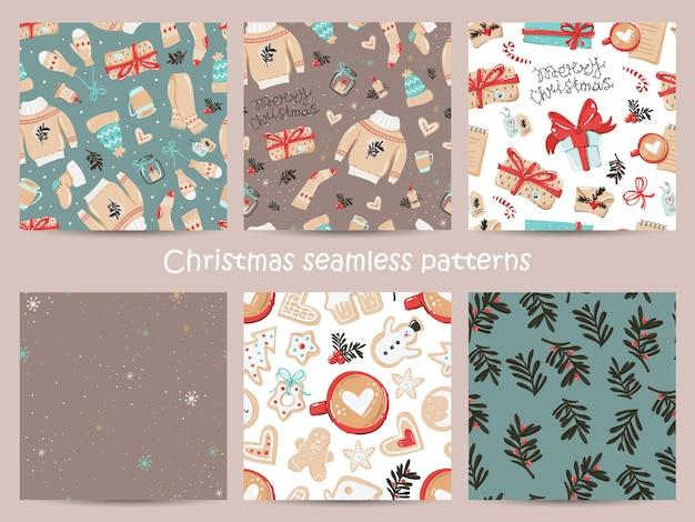 Conjunto de patrones sin fisuras de navidad con elementos acogedores.