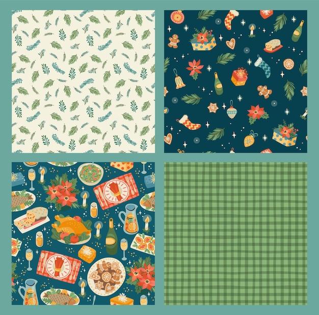 Conjunto de patrones sin fisuras de navidad y feliz año nuevo. estilo retro de moda.