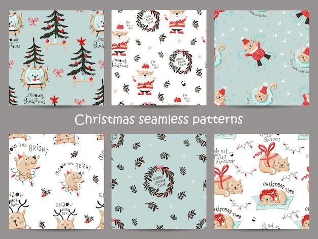 Conjunto de patrones sin fisuras de navidad con gatos graciosos.