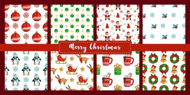 Conjunto de patrones sin fisuras de navidad con pingüino kawaii, reno rudolf, trineo de santa claus