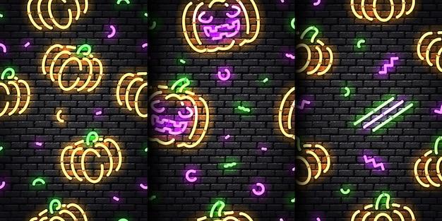 Conjunto de patrones sin fisuras de neón realista de halloween en el fondo de pared transparente.