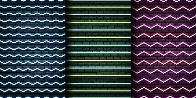 Conjunto de patrones sin fisuras de neón realista con zigzag para plantilla y diseño en la pared sin costuras.