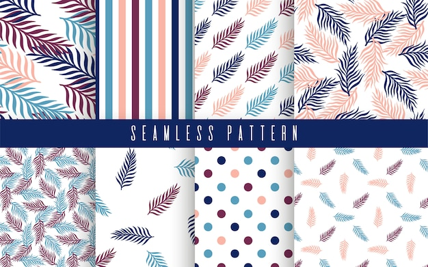 Conjunto de patrones sin fisuras de palmeras tropicales. la naturaleza planta adorno simple.