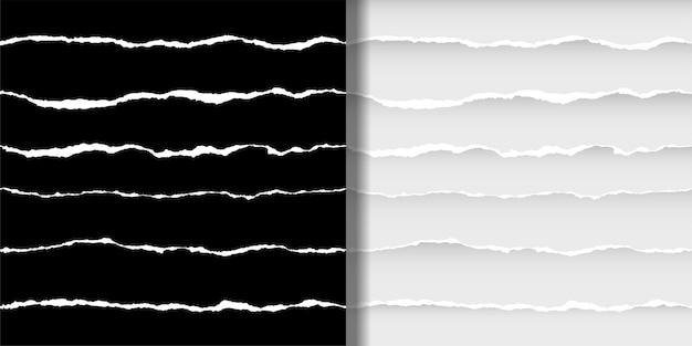 Conjunto de patrones sin fisuras de papel rasgado fondos de pantalla abstractos con rayas blancas para impresiones textiles
