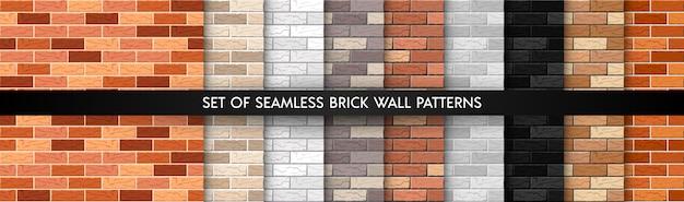 Conjunto de patrones sin fisuras de pared de ladrillo realista. colección de texturas de pared plana.