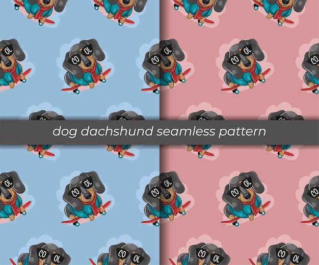 Conjunto de patrones sin fisuras de perro salchicha de dibujos animados