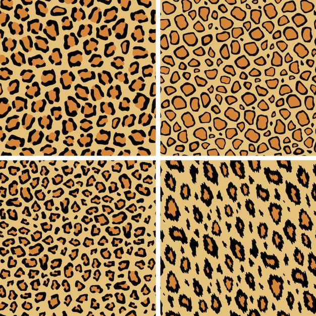 Conjunto de patrones sin fisuras de piel de leopardo. gato salvaje textura repetición. resumen de papel tapiz de pieles de animales.