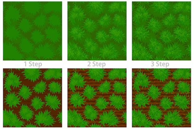 Conjunto de patrones sin fisuras de piso de hierba con textura