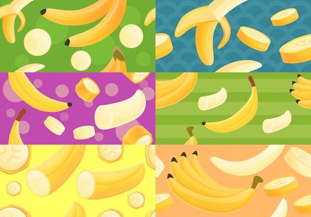 Conjunto de patrones sin fisuras de plátano, estilo de dibujos animados