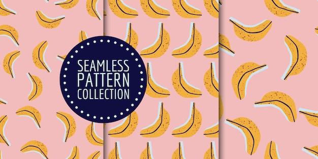 Conjunto de patrones sin fisuras de plátanos dibujados a mano
