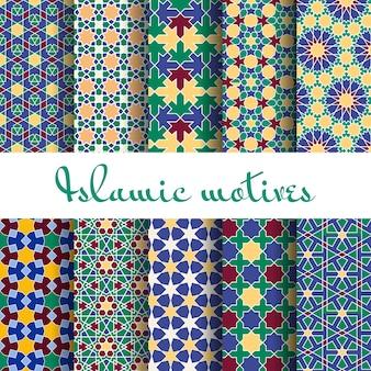 Conjunto de patrones sin fisuras de la primavera árabe. papel tapiz de diseño, adorno retro.