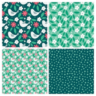 Conjunto de patrones sin fisuras de primavera con pájaros y elementos florales en un estilo sencillo