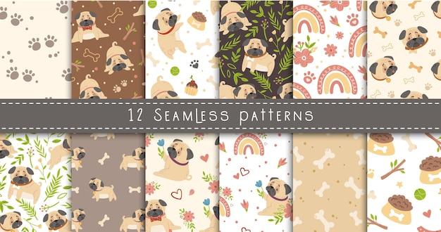 Conjunto de patrones sin fisuras de pug bebé, perro o cachorro y flores de primavera