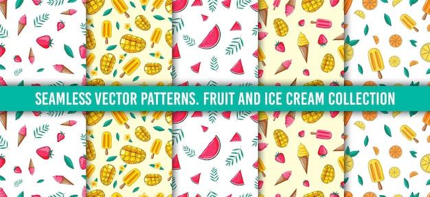 Conjunto de patrones sin fisuras. recolección de frutas. fresa, helado, mandarina, limón, naranja, mango, hojas, mandarina, sandía. fondo de dibujo de color dibujado a mano. papel pintado colorido del doodle.