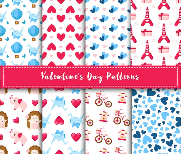 Conjunto de patrones sin fisuras de san valentín - dibujos animados kawaii erizo, elefante, grulla de papel, globo