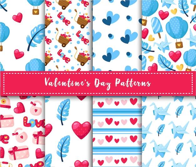 Conjunto de patrones sin fisuras de san valentín - globo de aire de dibujos animados, grúa de papel, pluma, caja de regalo, textura abstracta