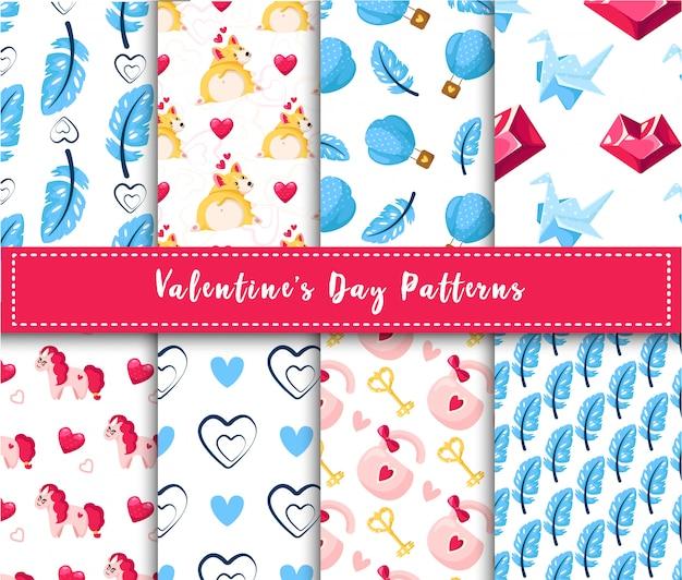 Conjunto de patrones sin fisuras de san valentín