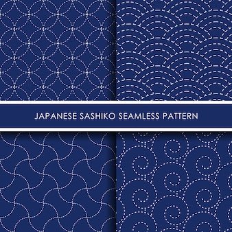 Conjunto de patrones sin fisuras sashiko japonés