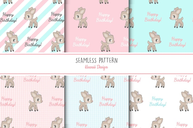 Conjunto de patrones sin fisuras de seis ciervos lindos
